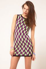 ASOS Collection Asos Knitted Bodycon Dress in Geo Pattern - Lyst