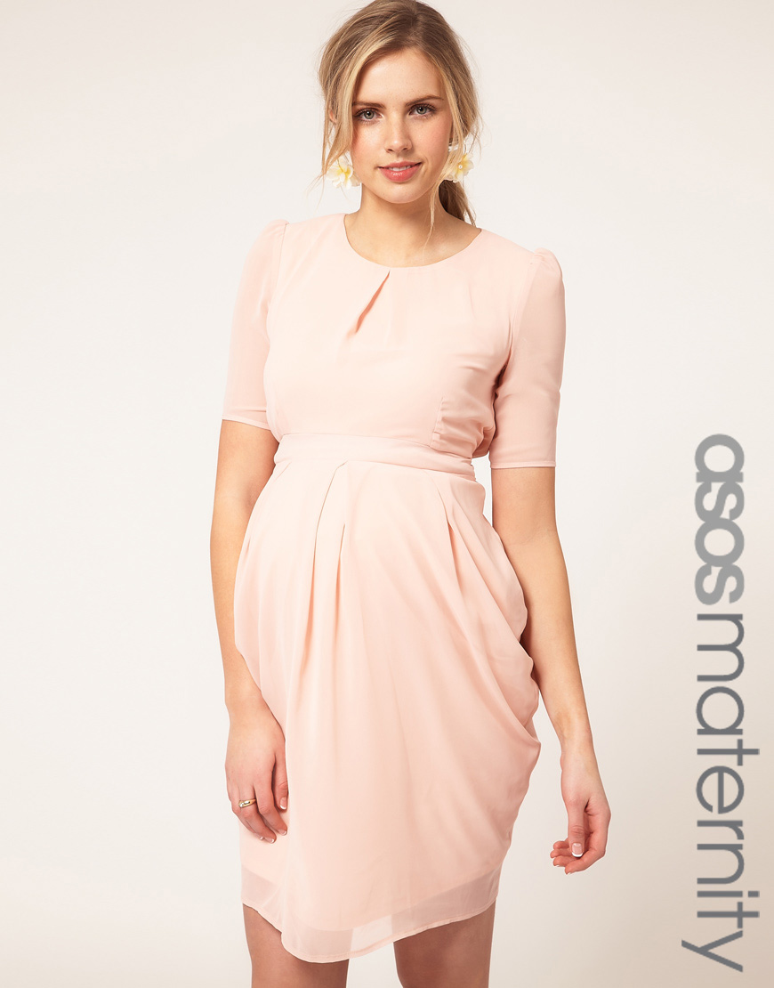 Asos maternity tulip dress in pink peach lyst for Pregnant wedding guest dress