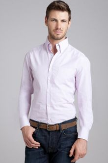 Brunello Cucinelli Lilac Pinstripe Cotton Button Down Shirt - Lyst