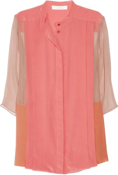 Chloé Color Block Silk Crepe And Georgette Blouse in Pink - Lyst