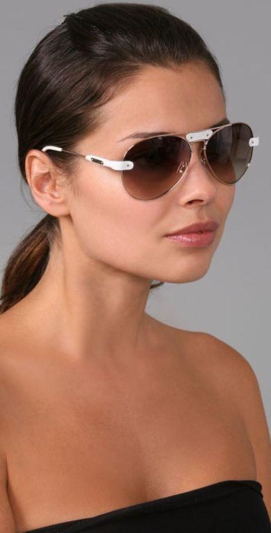 13443e1ceb4e Chloé Oversized Tamaris Aviator Sunglasses with Leather Trim in White
