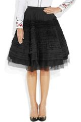 McQ by Alexander McQueen Tiered Cotton and Tulle Skirt - Lyst