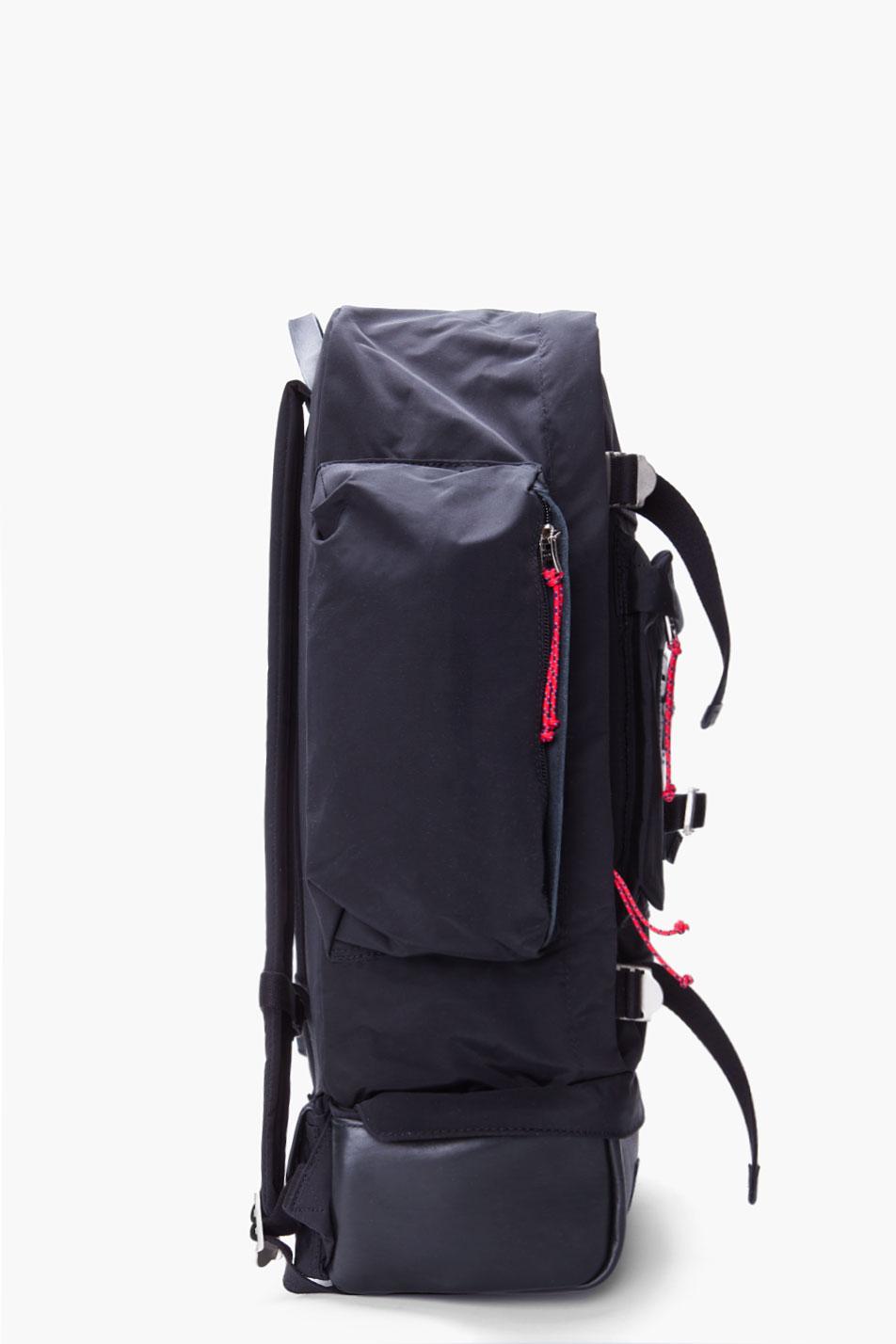 07eaf29873568 Lyst - Stussy Black Leather Trimmed Tramp Backpack in Black for Men