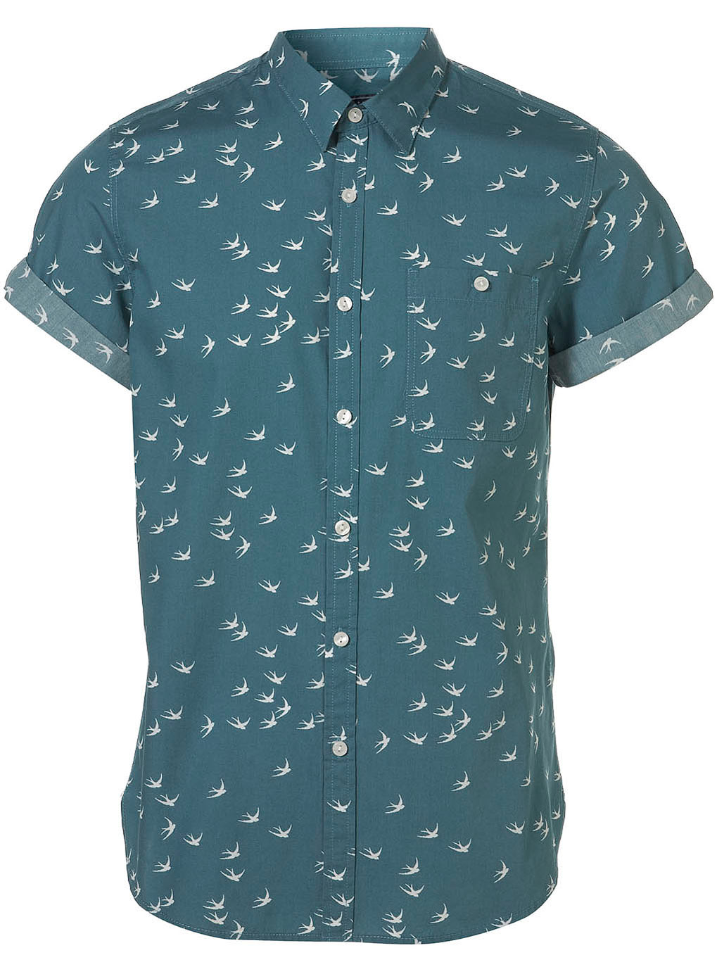 Topman green swallow pattern short sleeve shirt in green for Printed short sleeve shirts
