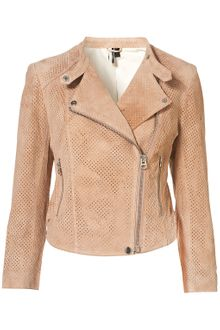 Topshop Perforated Suede Biker Jacket - Lyst