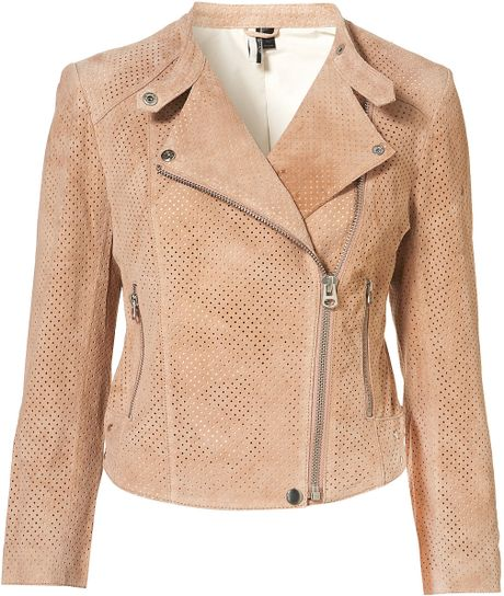Topshop Perforated Suede Biker Jacket in Orange (nude) - Lyst
