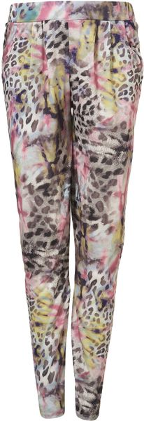 Topshop Smugde Print Jersey Tapered Trousers in Multicolor (pink) - Lyst