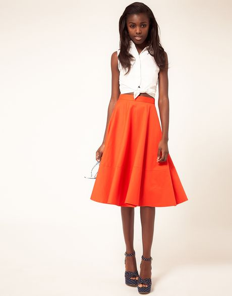asos collection fit and flare midi skirt in orange lyst