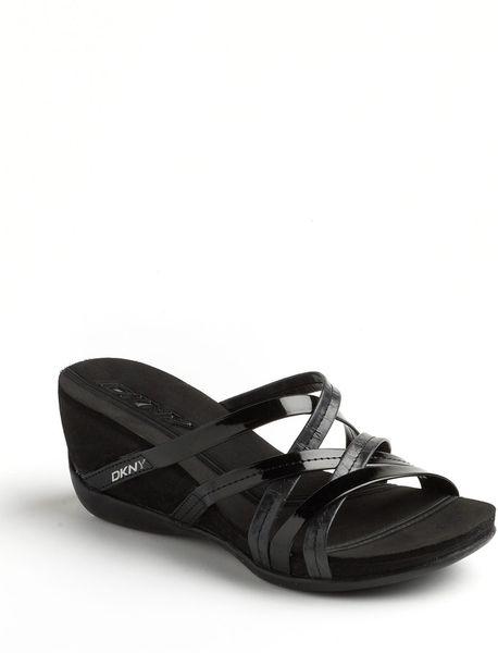 266fc9c835c4 Dkny Dknyc Heloisee Wedge Sandals in Black (black patent)