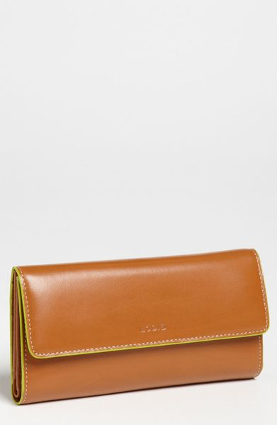 Lodis Checkbook Clutch in Brown (toffee/ lime) - Lyst