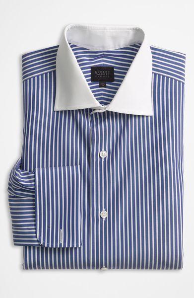 Robert talbott vertical stripe dress shirt in blue for men for Robert talbott shirts sale