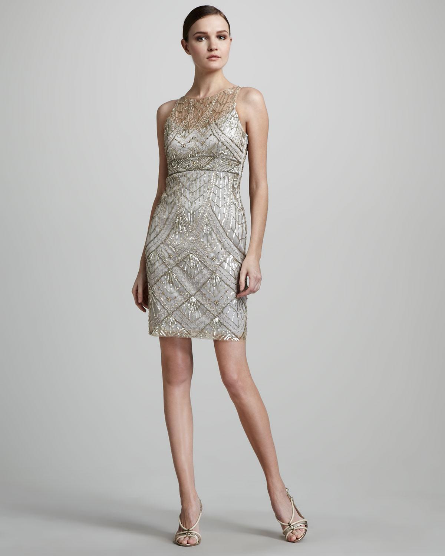 bad9424edd6 Sue Wong Beaded Cocktail Dress in Metallic - Lyst