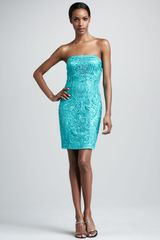Sue Wong Strapless Embroidered Dress - Lyst