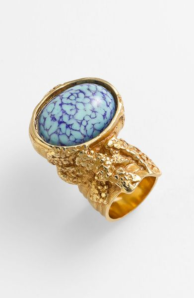 Saint Laurent Arty Oval Metal Ring in Blue (old gold/lapis/turquoise) - Lyst