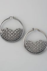 Bottega Veneta Woven Hoop Earrings - Lyst