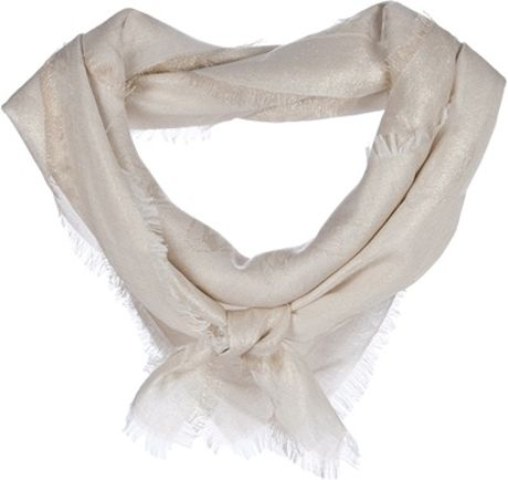 Alexander Mcqueen Frayed Edge Scarf in Gold (white) - Lyst
