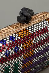 Bottega Veneta Woven Leather Box Clutch in Multicolor (white) - Lyst