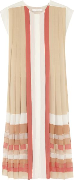 Chloé Pleated Sikgeorgette Dress in Pink (multicolored) - Lyst