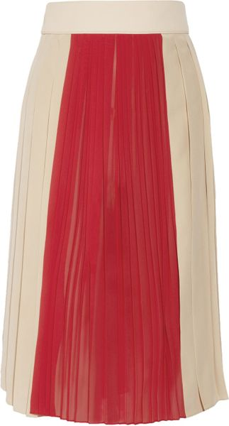 Chloé Pleated Crepe and Silkchiffon Skirt - Lyst