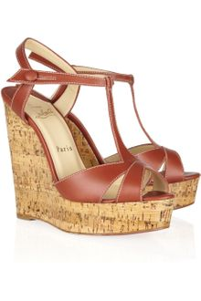 Christian Louboutin Marina Liege 140 Leather Wedge Sandals - Lyst