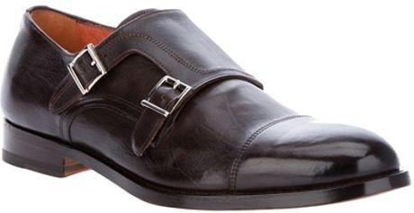 Santoni Monk Strap Shoe in Black for Men