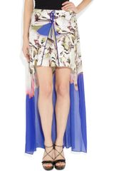 Vera Wang Printed Stretchcotton and Silkblend Chiffon Mini Skirt in Blue (multicolored) - Lyst