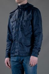 Acne Hooded Nylon Windbreaker in Blue for Men (navy) - Lyst