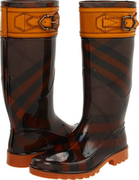 Burberry Buckle Detail Check Rain Boots in Brown (o) - Lyst