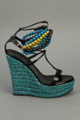 Burberry Prorsum Wedge Sandal in Black - Lyst