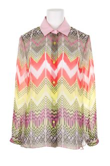 Carven Multicolored Ikat Printed Silk Shirt with Contrasted Cotton Collar - Lyst