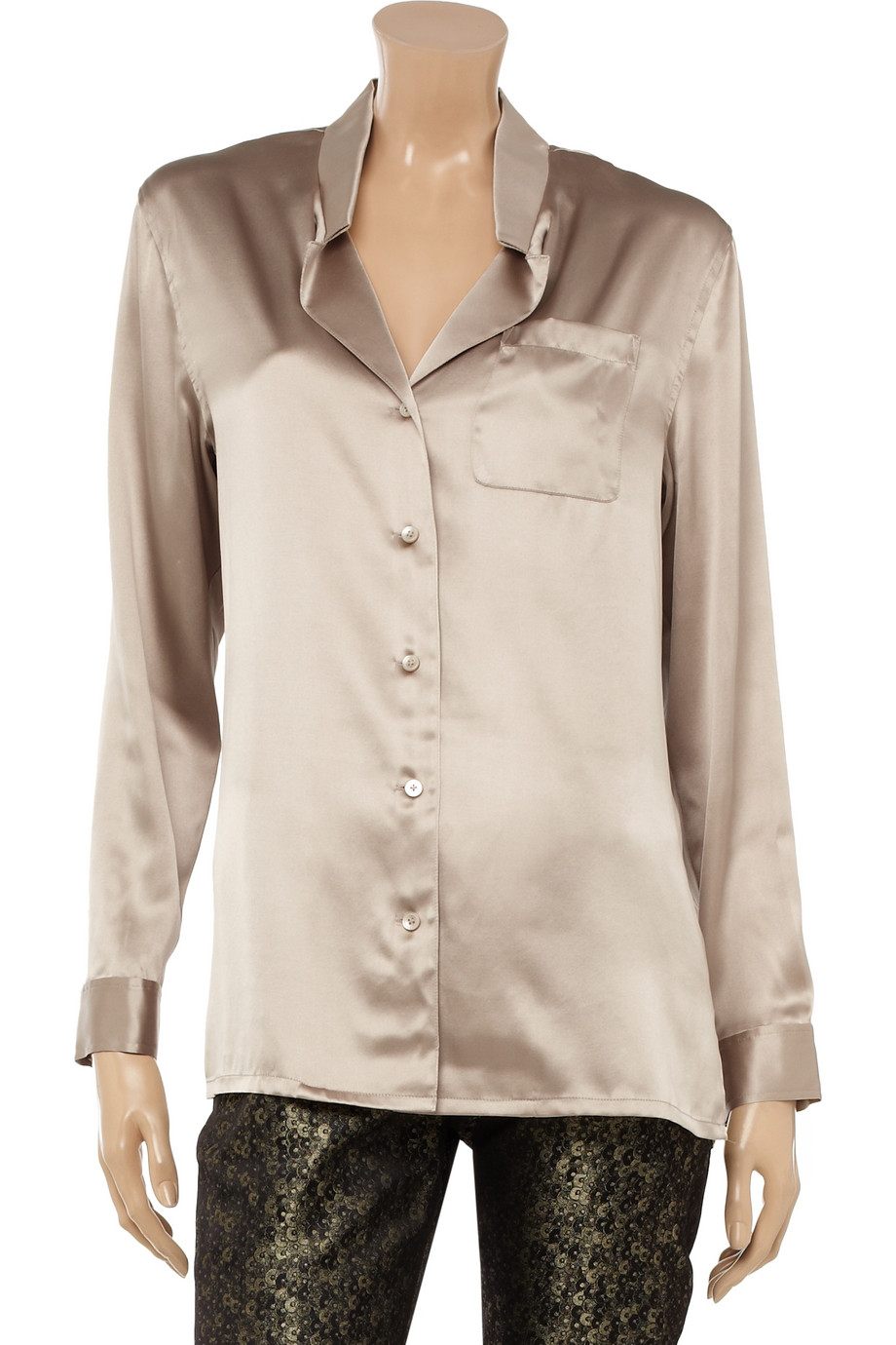 fc37c94d2fd14 DKNY Stretchsilk Satin Blouse in Brown - Lyst