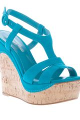 Gianvito Rossi Wedge Sandal in Blue (turquoise) - Lyst