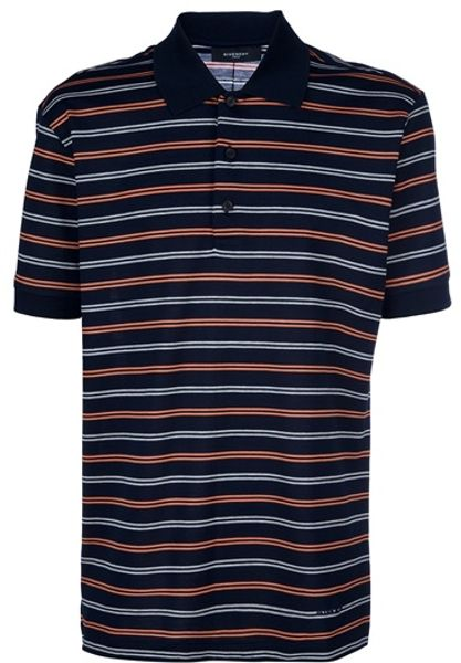 Givenchy Striped Polo Shirt in Blue for Men - Lyst