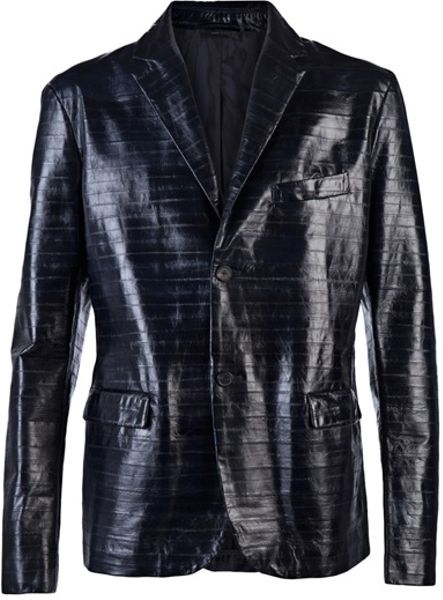 Jil Sander Eel Leather Jacket in Black for Men - Lyst