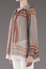 L'agence Silk Scarf Blouse in Brown - Lyst