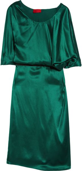 Lanvin Asymmetric Silksatin Dress in Green - Lyst