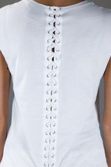 Mcq By Alexander Mcqueen Lace Up Back Tshirt in White - Lyst