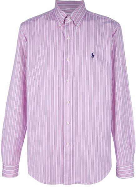 Polo ralph lauren custom fit dress shirt in pink for men for Custom fit dress shirts