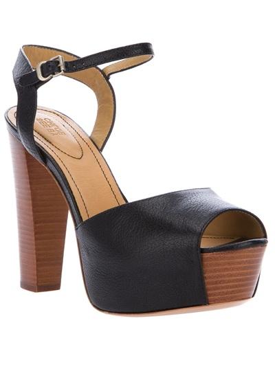 See By Chlo 233 Wooden Heel Sandal In Black Lyst