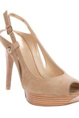 Stuart Weitzman Beside Peep Toe Pump in Brown (nude) - Lyst