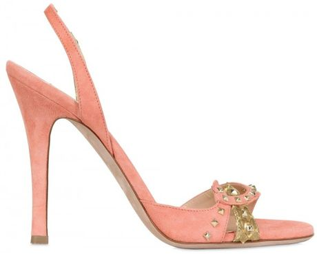 Valentino 100mm Rock Stud Suede Sandals in Pink - Lyst