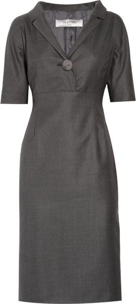 Valentino Roma Stretch Wool and Silkblend Dress in Gray - Lyst