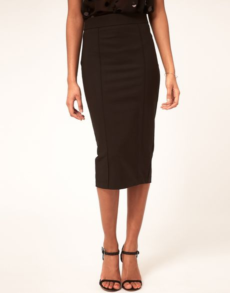 asos collection asos seamed pencil skirt in longer length