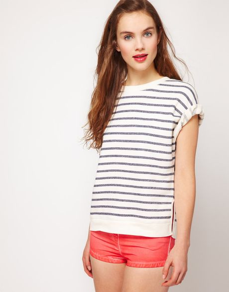 Asos Collection Asos Top in Loop Back Marl in Blue (navy) - Lyst