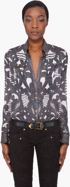 Balmain Deep Vneck Silk Blouse in Gray (charcoal) - Lyst