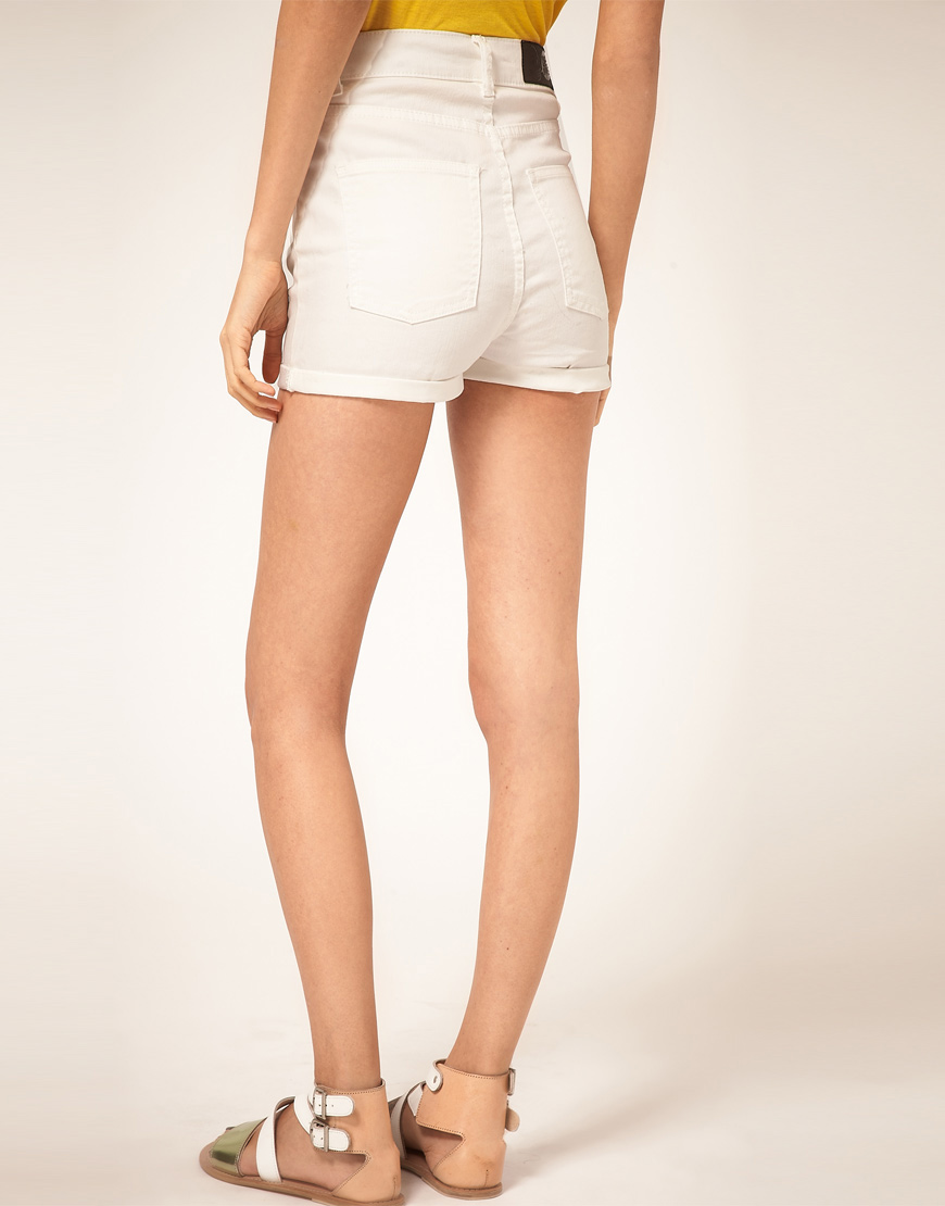 Cheap monday Denim Shorts With High Waist in White | Lyst