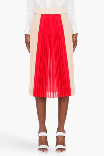 Chloé Blush Red Pleated Silk Skirt - Lyst
