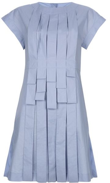Fendi Pleated Dress in Blue - Lyst