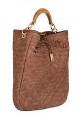 Ferragamo Ceyla Woven Leather Tote in Brown (tan) - Lyst