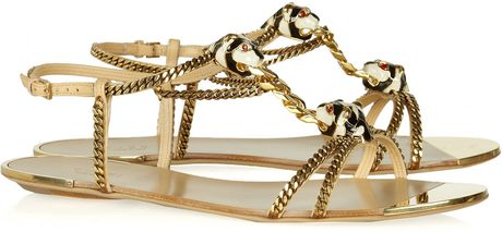 Gucci Embellished Chain and Leather Sandals in Gold (nude) - Lyst